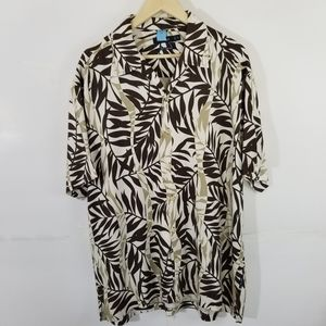 NAUTICA Brown 100% Silk Hawaiian Short Sleeve Shir
